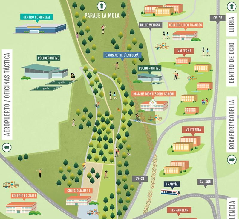 Mapa de integración paisajística del colegio Imagine Montessori School La Pinada