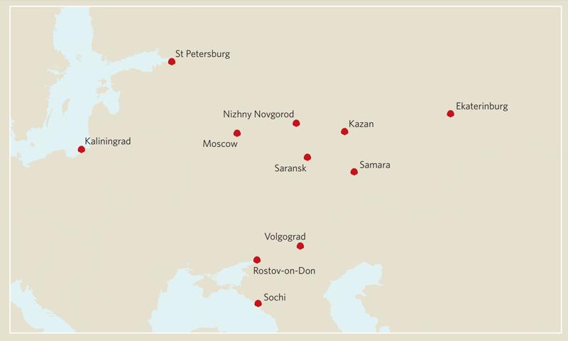 Mapa de las ciudades que albergan los partidos del Mundial de Rusia 2018