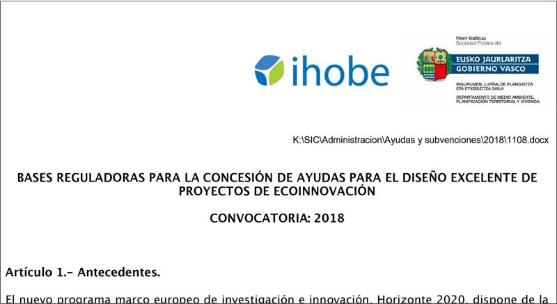 Convocatoria Ihobe 2018 ayudas para el diseño excelente de proyectos de ecoinnovación