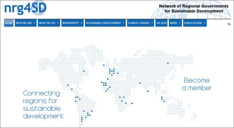 Página de inicio de la web Red internacional de Gobiernos Regionales por el Desarrollo Sostenible-nrg4SD