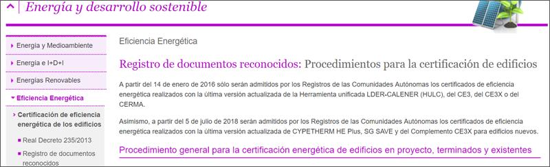 Publicación procedimientos certificación energética de edificios