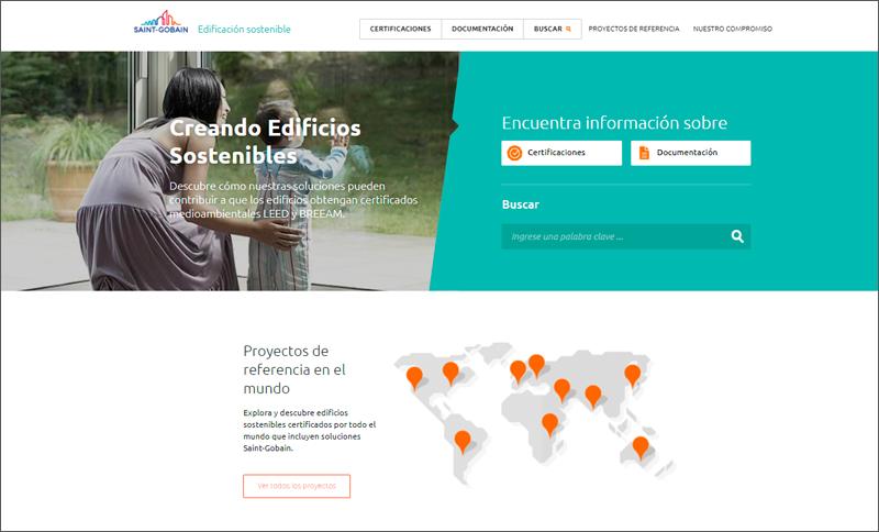 Página de inicio web Edificación Sostenible de Saint-Gobain