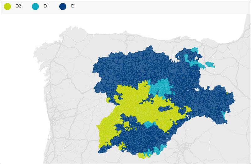 Mapa de las zonas climáticas de Castilla y León