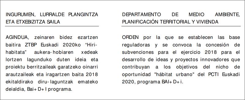 """Convocatoria de subvenciones para el ejercicio 2018 para el desarrollo de ideas y proyectos innovadores que contribuyan a los objetivos del nicho de oportunidad """"hábitat urbano"""" del PCTI Euskadi 2020, programa BAI+D+i"""