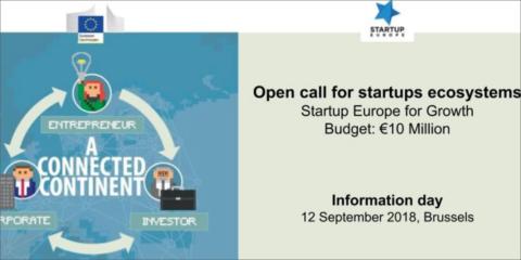Jornada informativa el 12 de septiembre en Bruselas sobre la convocatoria del programa 'Startup Europe for Growth'