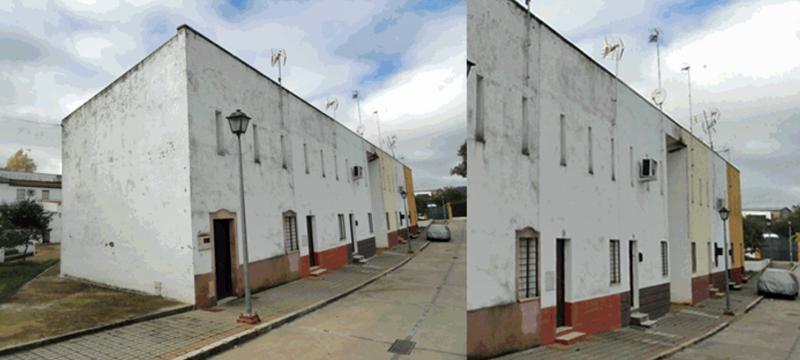 Fachada de las viviendas públicas de Las Navas de la Concepción