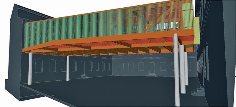 imagen del edificio-puente, un paralelepípedo realizado en madera sostenible