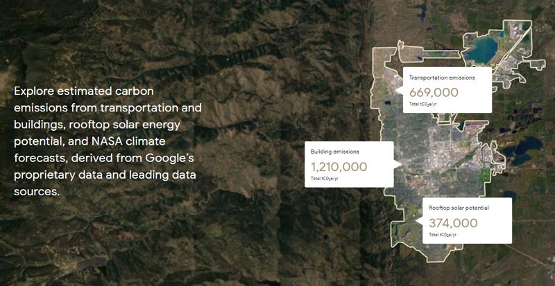 Información que proporciona la herramienta de Google Environmental Insights Explorer (EIE)