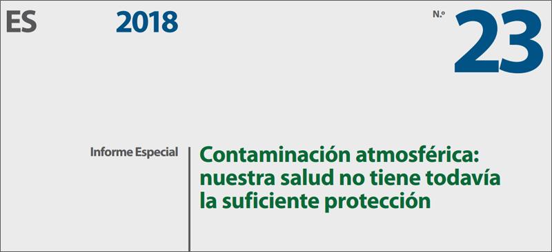 Portada del informe Contaminación atmosférica: nuestra salud no tiene todavía la suficiente protección