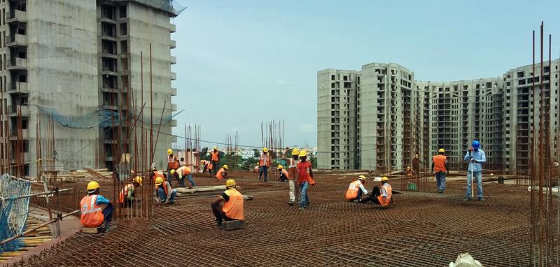 Obras de construcción de edificios en India