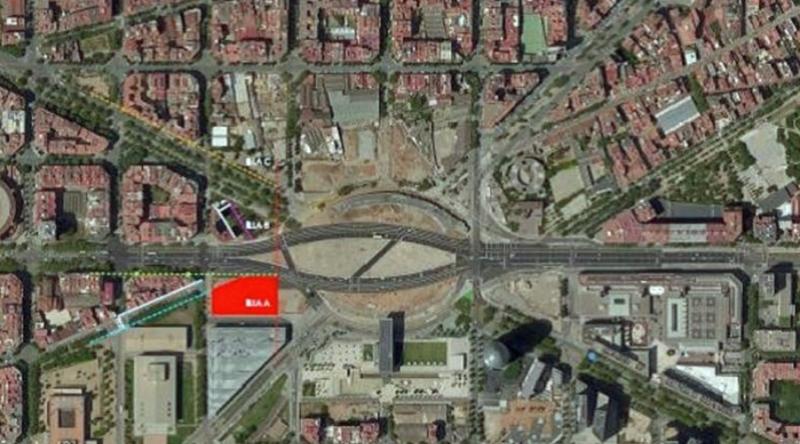 ámbito de actuación del proyecto de Les Glòries en Barcelona
