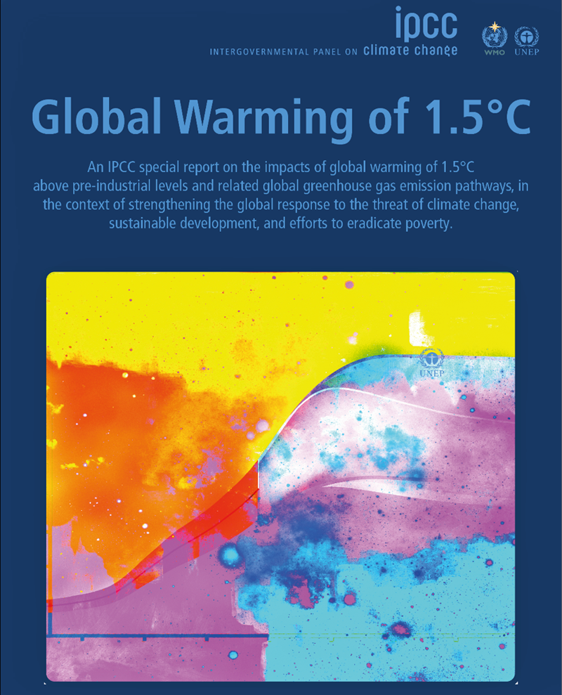 Portada del informe titulado Calentamiento global de 1,5 °C, Informe especial del IPCC
