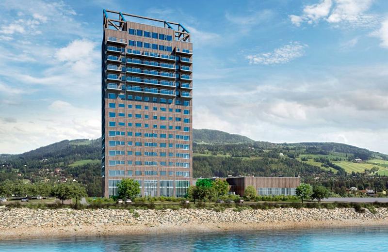 El edificio Mjøstårnet finalizado
