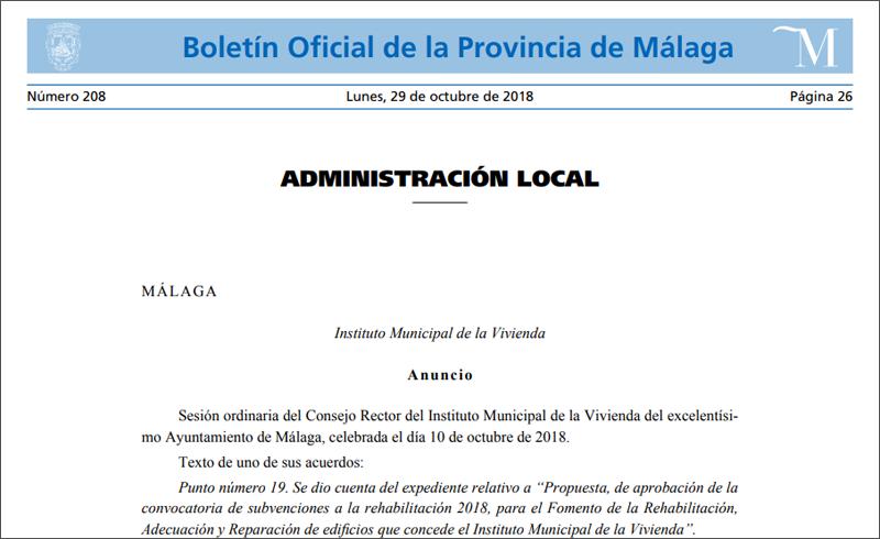Publicación del Boletín de la Provincia de Málaga