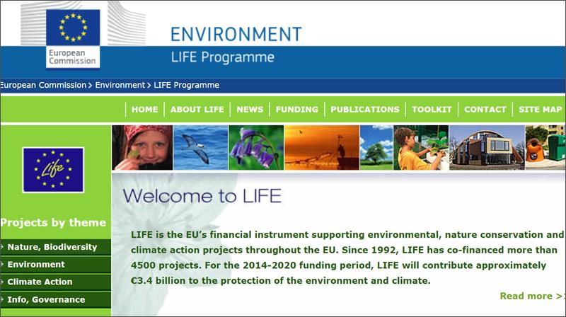 Página web del Programa Life de la Unión Europea