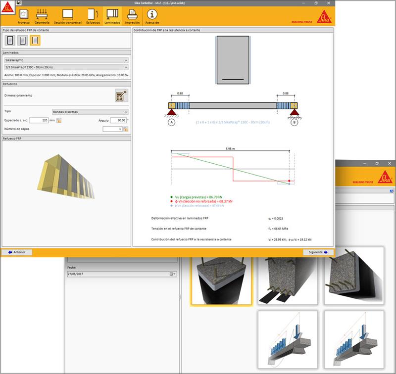 Herramienta informática SIKA® CarboDur® Design Software