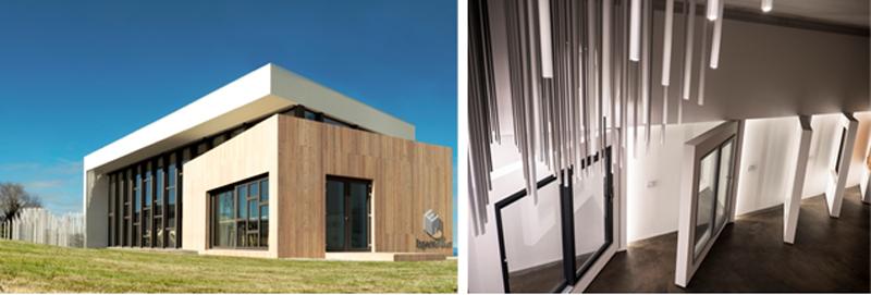 Figura 1. Vista exterior del edificio. Figura 2. Vista interior del edificio desde arriba. Lámpara de PVC y expositores de ventana.