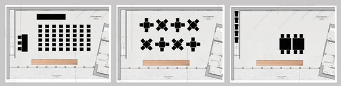 Figura 3. Imágenes de Propuesta de diseño. Planta Distribución, opción 1, 2 y 3. Sala de conferencias, trabajo en grupo y reunión respectivamente. Por Carmen Baselga_Taller de Proyectos.