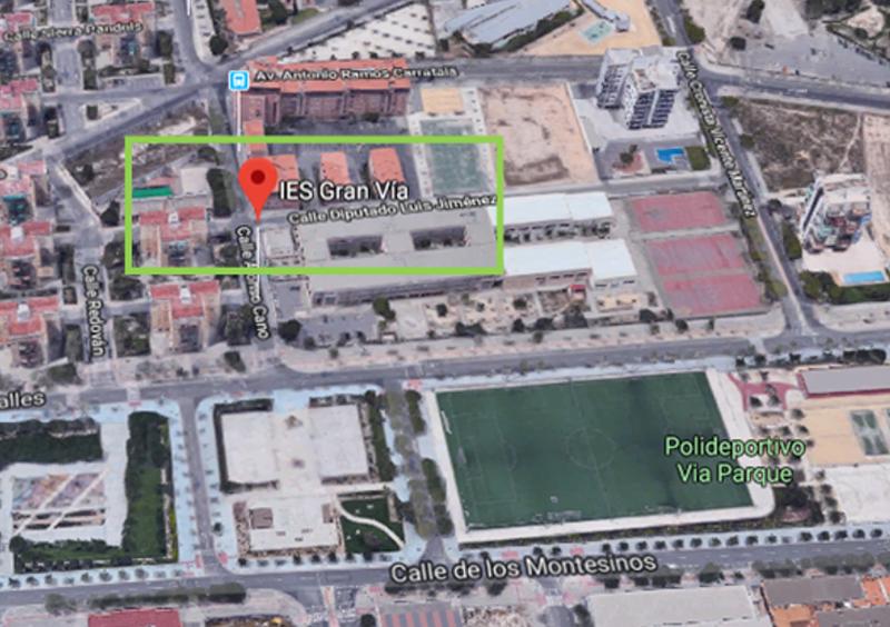 Figura 1. Situación IES Gran Vía. Vista 3D obtenida en Google Maps.