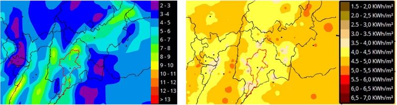 Figura 2. Velocidad viento máxima energía (m/seg) y Radiacion global horizontal. Fuente: Elaboración propia con base en Atlas Ideam.