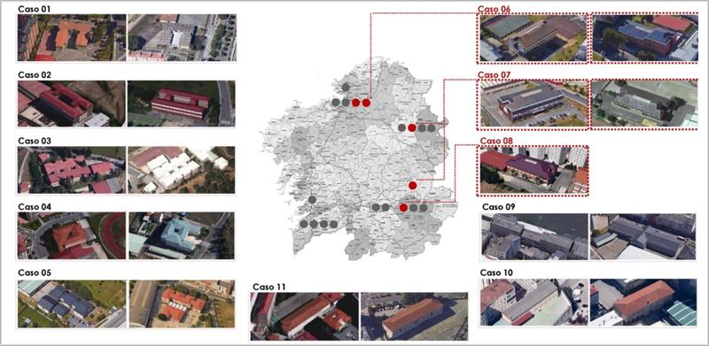 Figura 3. Ubicación de los 5 colegios del presente artículo (casos 06/07/08) y de la muestra de 21 colegios de la tesis doctoral.