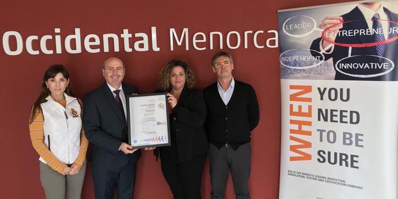 El hotel Occidental Menorca obtiene elcertificado ISO 14001:2015 por su gestión medioambiental