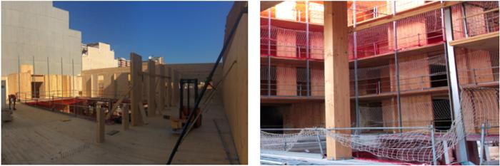 Figura 4. Estructura de madera CLT en tercera planta y vista general de la estructura desde el patio.