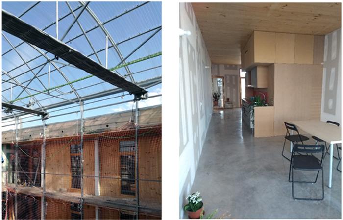 Figura 6. Cubierta Atrio con invernadero e interior de vivienda para entregar.