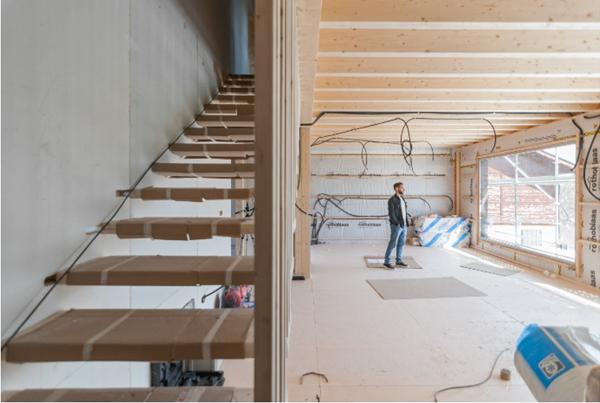Figura 1. Imagen de la zona de salón-comedor-cocina, en fase de obra.