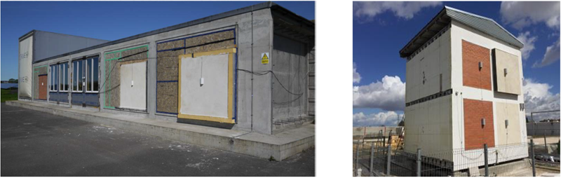 Figura 3. Instalación de los paneles en el demostrador HIVE, Wroughton, Reino Unido. Figura 4. Instalación de los paneles en el demostrador Test Cell, Sevilla, España.