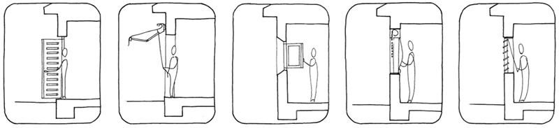 Figura 3. Acciones del usuario sobre los huecos en un edificio bioclimático.