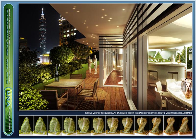 La terraza de los apartamentos permite ver la fachada verde además de las vistas a la ciudad.