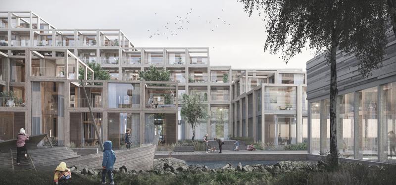 UN17 Village aldea ecológica de Copenhague detalle edificios