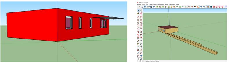 Figura 4. Detalles de modelado con SGSAVe y Design PH en Sketchup.