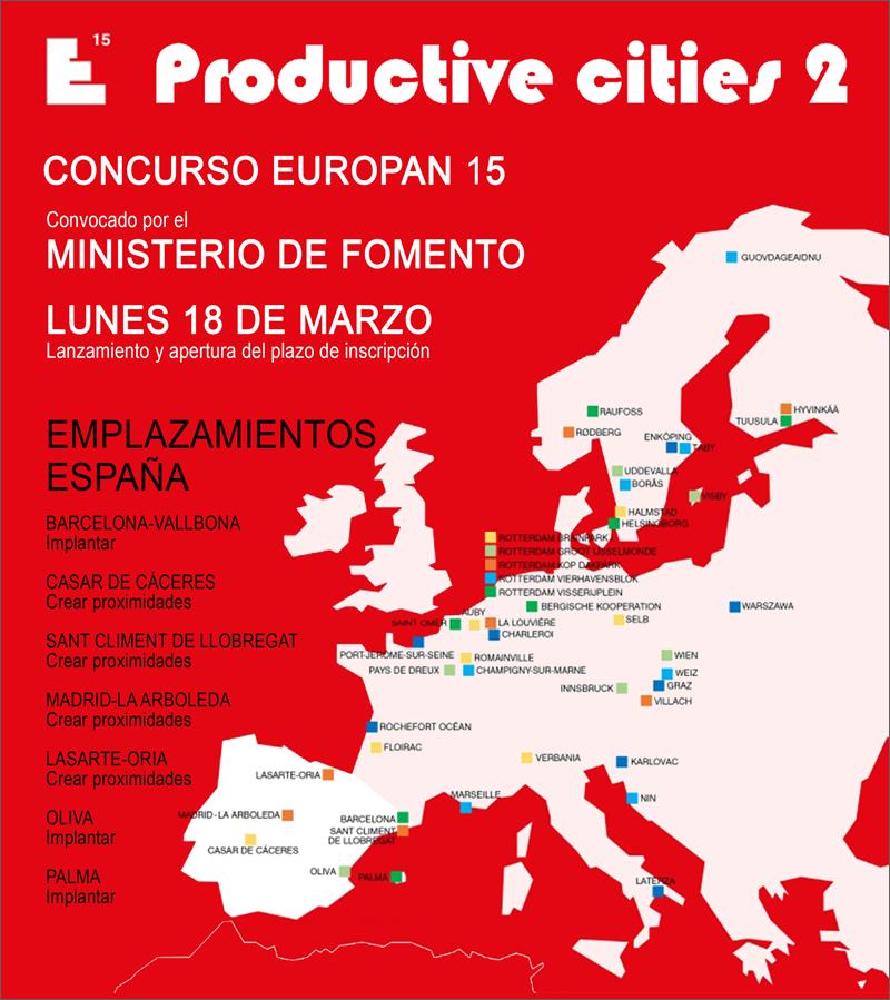 Mapa provisional de los emplazamientos participantes en el concurso Europan.