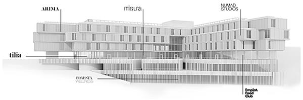Figura 3. Los diferentes espacios del edificio y su localización.