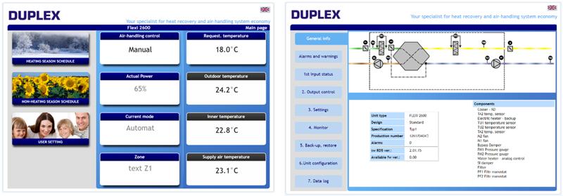 Figura 6. Panel menú modo usuario.Figura 7. Panel menú modo instalador.