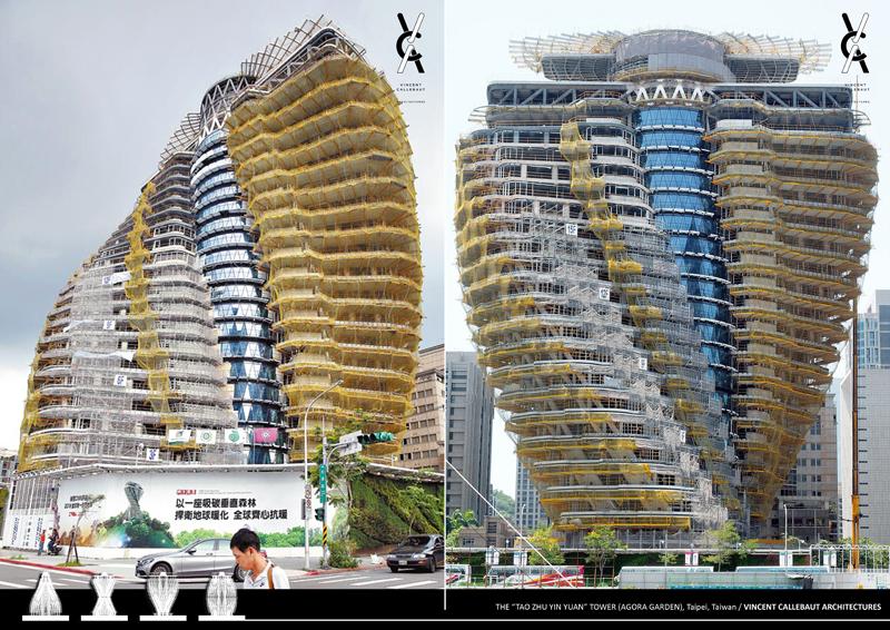 Imagen del edificio en construcción que muestra su forma helicoidal.