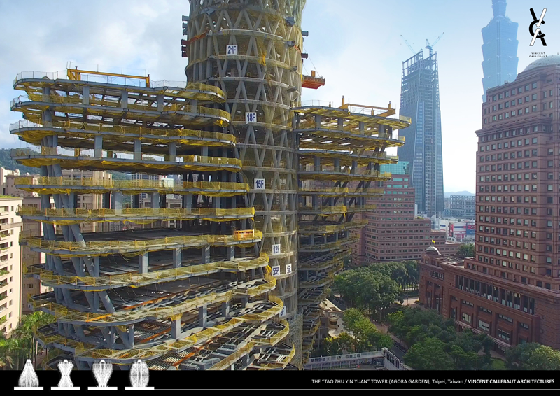 Los apartamentos se disponen a cada lado del núcleo cilíndrico y cubren una superficie de 540 m2.