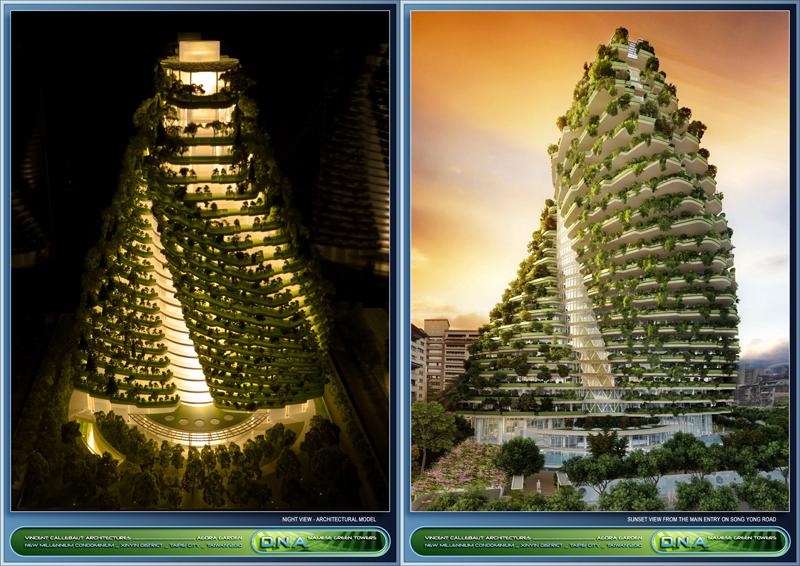 Renderizado de la torre Agora Garden Tower, ubicada en Taipéi, Taiwán.