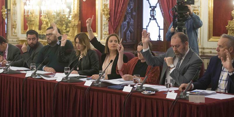 Imagen de la votación de uno de los del Pleno de la Diputación de Cádiz.