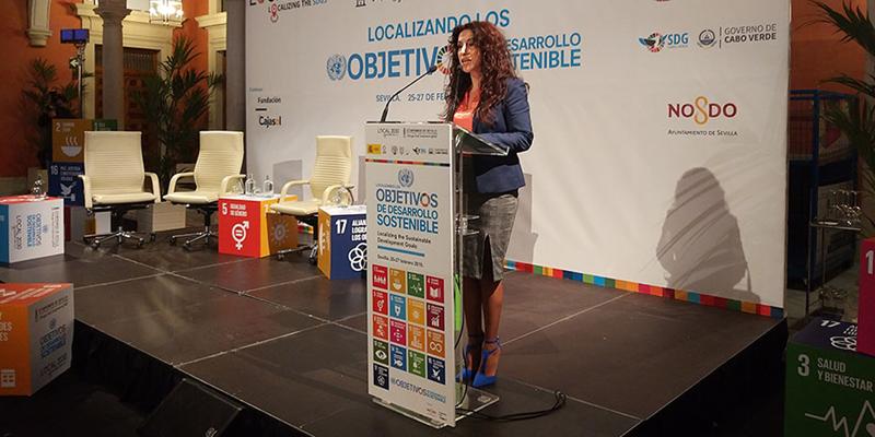 La consejera de Igualdad, Políticas Sociales y Conciliación, Rocío Ruiz, en la inauguración de la Jornada 'ONU Hábitat: Localizando los Objetivos de Desarrollo Sostenible'