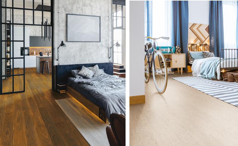 Al mantener la temperatura todo el año, el corcho es ideal para los suelos de los dormitorios.