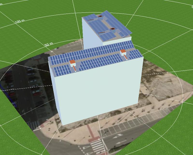 Modelización del edificio y su instalacion fotovolatica con PVsol 2018