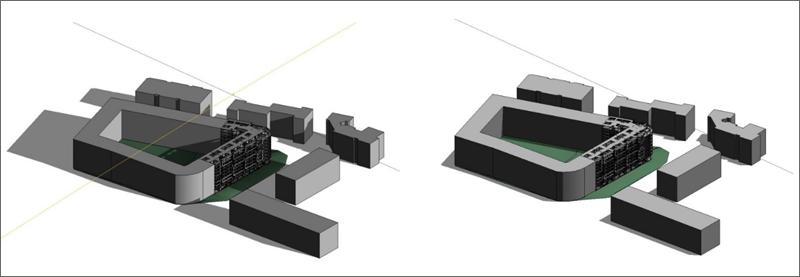 Figura 6. Esquemas de asoleo Fase I integrada en su entorno.