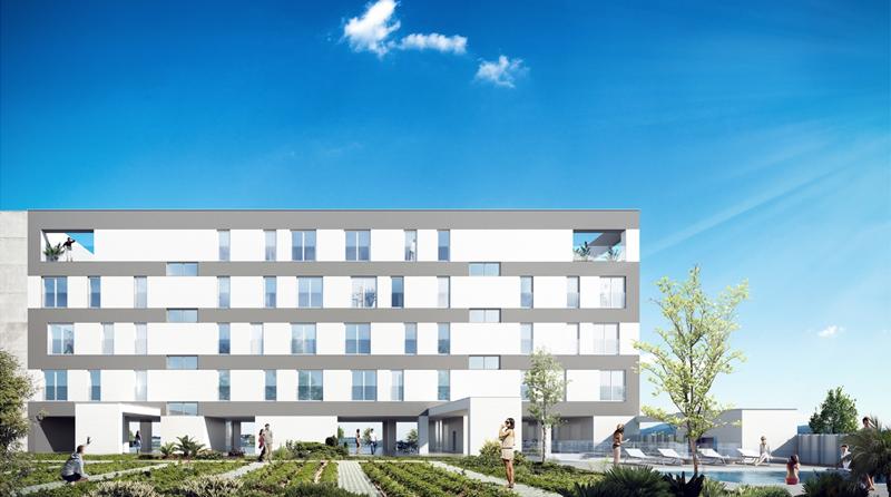 Figura 1. Edificio de viviendas ECN Arroyo Fresno Passivhaus Vista desde espacios comunes.