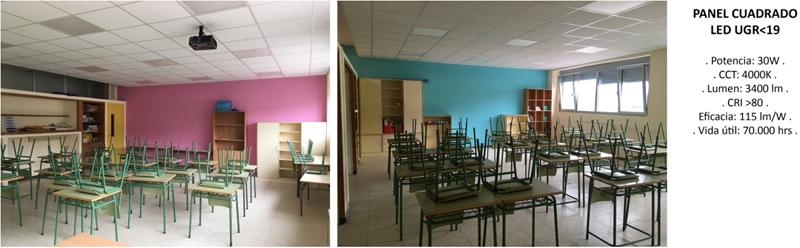 Figura 15. Estado reformado aulas con 3 filas de paneles tipo LED y detector lumínico. Especificación luminaria.