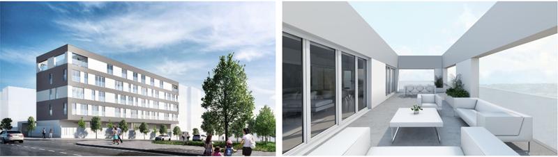 Figura 2. Vista desde la calle Gloria Fuertes.  Figura 3. Vista interior terrazas planta 4ª.