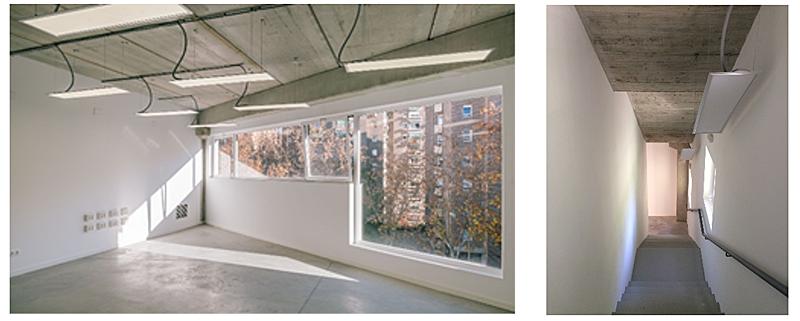 Figura 5. Suelo radiante y refrigerante. Figura 6. Ausencia de falsos techos, materiales constructivos vistos como elemento compositivo, sencillez y facilidad de mantenimiento del edificio.