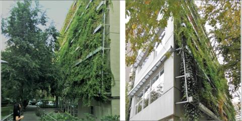 Fachadas vegetales combinadas con energías renovables potencian la arquitectura en edificio público de consumo de energía casi nulo testado y en uso en Madrid